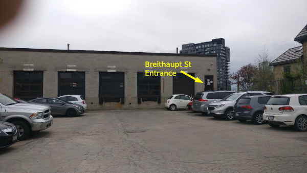Breithaupt St entrance and parking lot